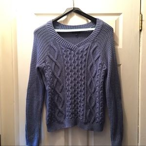 NWOT Lord & Taylor Blue V-Neck Cable Knit Sweater